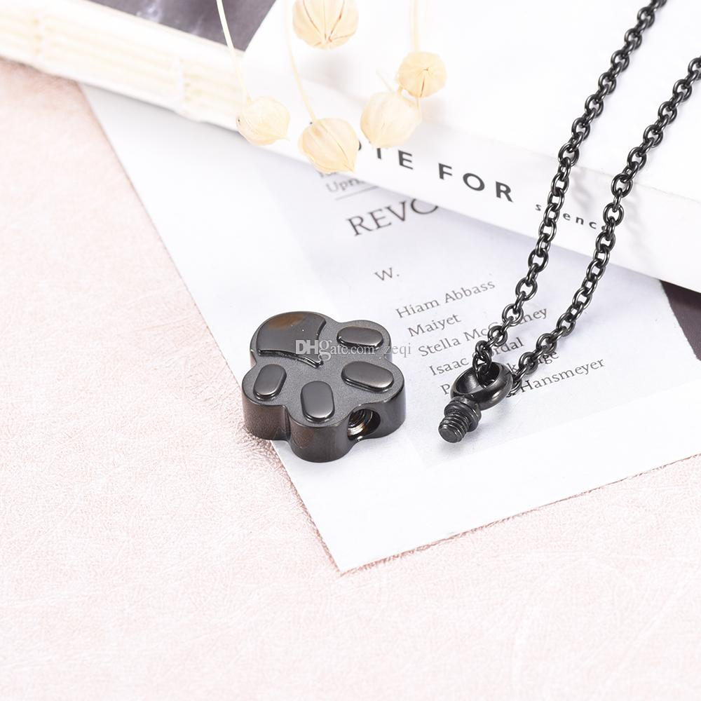 IJD9292 Paw Shape Stainless Steel Cremation Pendant Necklace Pet Memory Funeral Ashes Keepsake Urn Necklace Jewelry