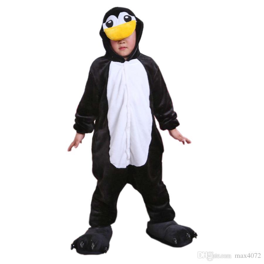 63b8f1de39374 Acheter Pyjama Une Pièce Dessin Animé Enfants Pingouin Animal Cosplay  Onesie Pyjama Pour 3 10ans Enfants Garçons Filles Doux Flanelle Vêtements De  Nuit ...