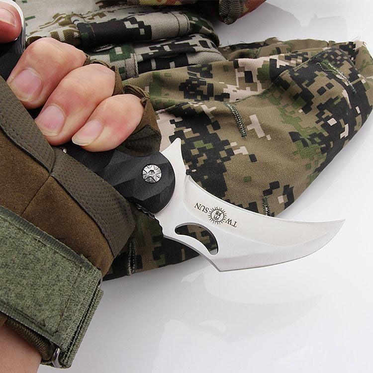 Twosun TS01 Klappmesser Messer mit 420J2 Stahlklinge Schwarzem Griff Karambit Klaue Taschenmesser Camping Jagdmesser Überlebensmesser Outdoor-Werkzeug