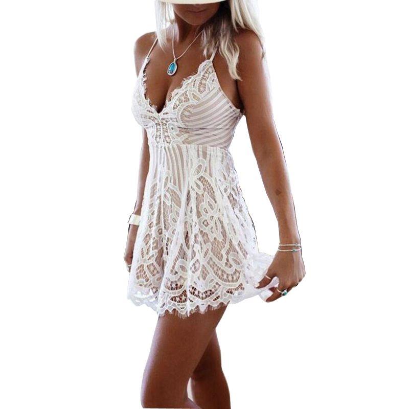 fc88e1d824cb Women White Lace Spaghetti Strap Playsuit Sexy Deep V Neck Short Jumpsuits  Romper Summer Beach Sleeveless Casual Overalls Dresses Dresses Women Long  Dresses ...