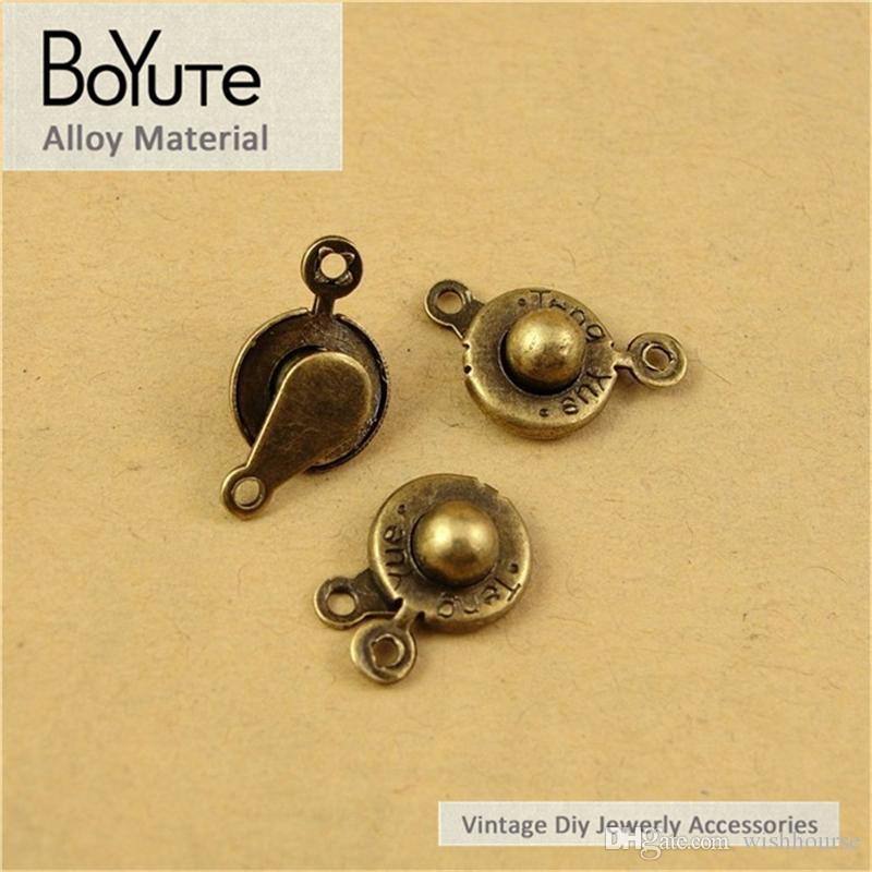 BoYuTe  13.5*9.5MM Antique Bronze Plated Alloy Press Button Connector Charms for Jewelry Making Diy Bracelets Necklace