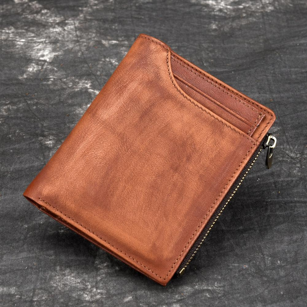 2172f205f5ca Men Genuine Tanned Leather Bifold Wallet Clutch Money Bag Famous Brand Coin  Pocket Multi-Cards Holder Clip Male Short Purse
