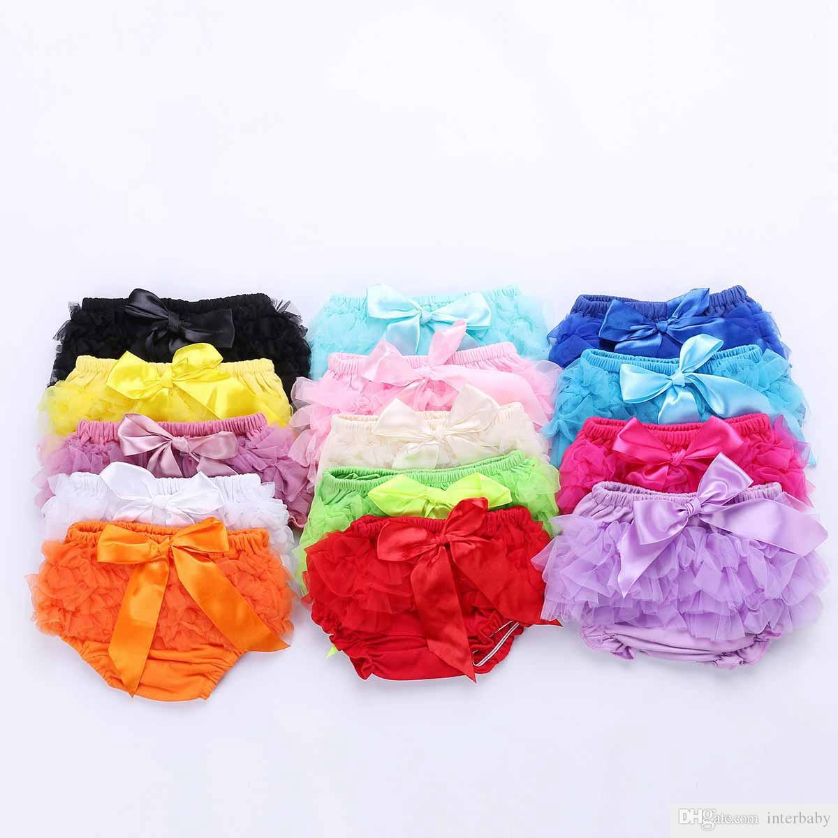 Baby Skirt Ruffles Chiffon Bloomer Tutu Skorts Infant Cotton Bow PP Shorts Kids Lovely Skirt Diaper Cover Underwear Skirts YFA555