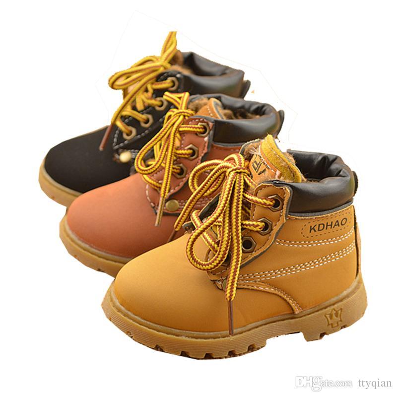 9e00d684d New 2019 Children Kids Baby Boys Winter Keep Warm Plus Velvet Matin Boots  For Boys Girls Toddler Shoes Short Snow Boots Lace UP SnowBoots