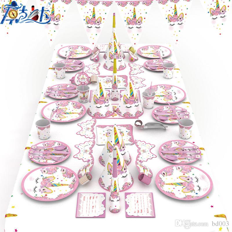 Cartoon Unicorn Theme Tableware Kids Birthday Festival Party Wedding Supplies Home Decorations Photography Props New Arrival 36 8kk Ii 2nd