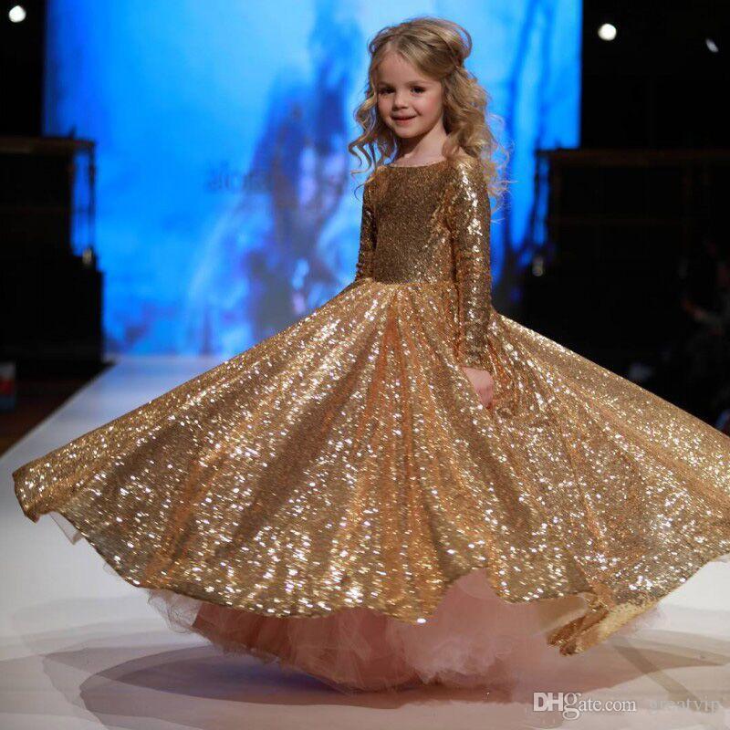 Bola de ouro vestido de lantejoulas meninas vestidos com mangas compridas para casamentos criança pageant vestidos até o chão primeiro vestido de comunhão