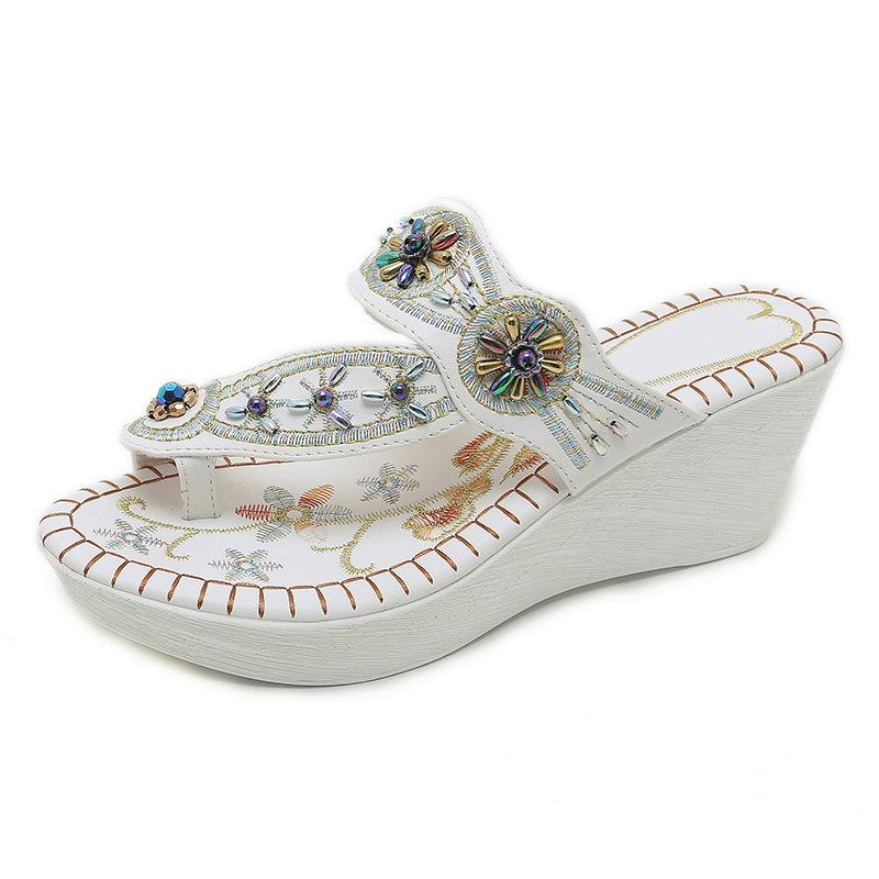 f528b3e8f Bohemian New Beaded Rhinestone Wedges Retro Embroidered Comfortable Non  Slip Wild Clip Toe Wedges Sandals Sandals Clogs For Women Shoe Boots From  Afantishoe ...