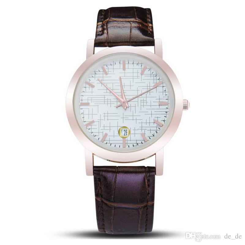 3f6fcf879628 Compre Casual Reloj De Cuarzo Unisex Moda Cruz Líneas Dial Negro Blanco  Reloj Banda De Cuero Marrón Relojes De Pulsera Impermeables Para  MujeresHombres A ...