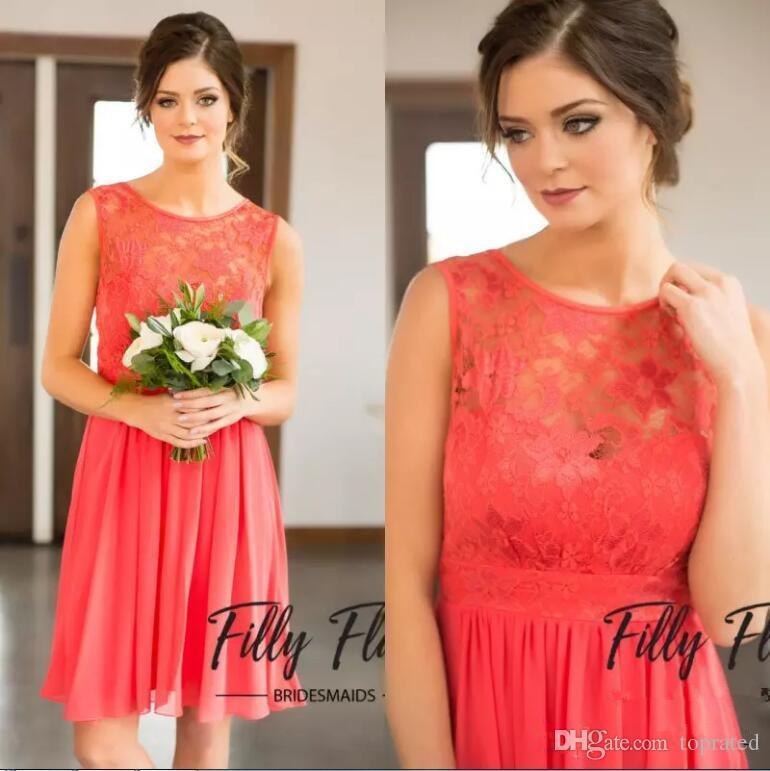 2017 New Style Coral Bridesmaid Dress Jewel Sleeveless Lace Top Chiffon Wedding Guest Wear Plus Size Knee Length Cheap Maid Of Honor A-Line