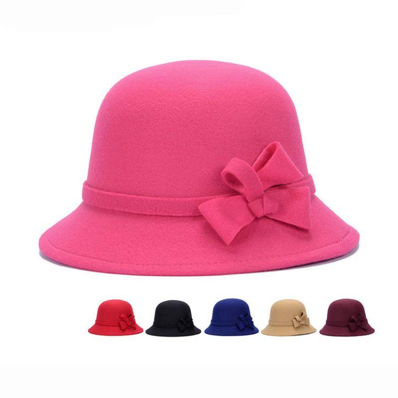 HT1211 Winter Elegant Warm Women Fedora Cloche Imitate Wool Felt Hats  Vintage Retro Bucket Church Cap Wholesale Vintage Retro Bucket Church Cap  Wholesale ... 2d4f4d36f694