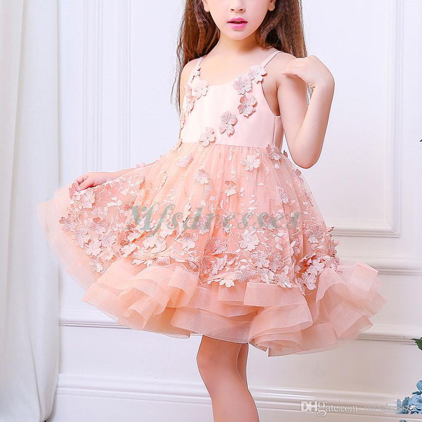 Nueva princesa Pink Puffy Ball Gown sin mangas hasta la rodilla Vestidos de niña de las flores Niños Formal Weeding Party Dress Niñas vestidos de fiesta de cumpleaños