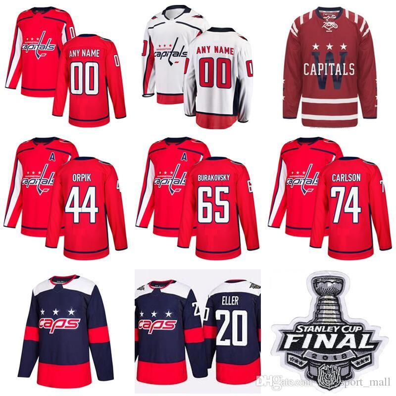 2018 Man Woman Youth Washington Capitals Hockey 20 Lars Eller Jersey 74  John Carlson 44 Brooks Orpik Dmitry Orlov Custom Any Name Red White Blue  From ... 73ad36778