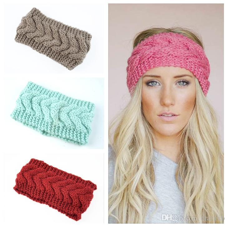 2019 Solid Wide Knitting Woolen Headband Winter Warm Ear Crochet