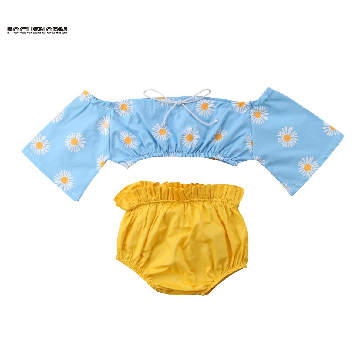 77888df9d419 2019 Newborn Baby Girl Floral Sweet Daisy Cloth Set Off Shoulder Top T Shirt +Pants Outfits Infant Short Sleeve Cute Clothes Sets From Paradise13