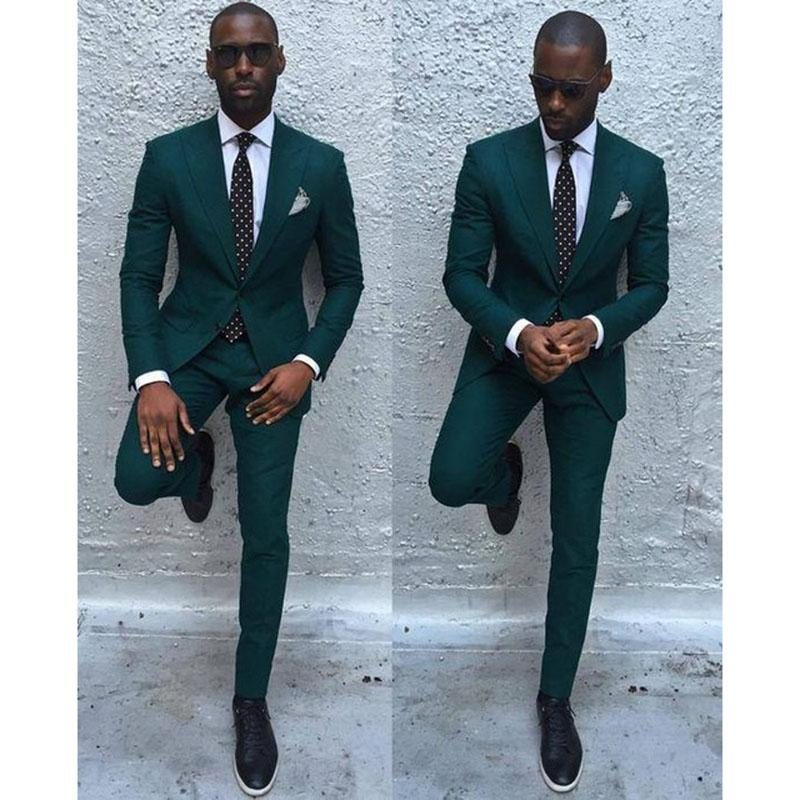 2018 Dark Green Slim Men Suit 2017 Handsome Mens Wedding Suits ...
