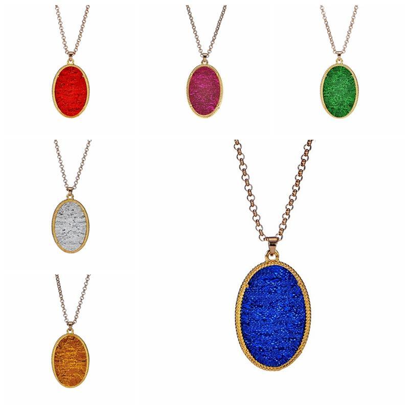 Gem Ovale Collier Femmes Cadeau Shipping Pendentif D'anniversaire Or Lunette Marque Élégant Bijoux Colliers Pour Drop Géométrique rdoeCBx