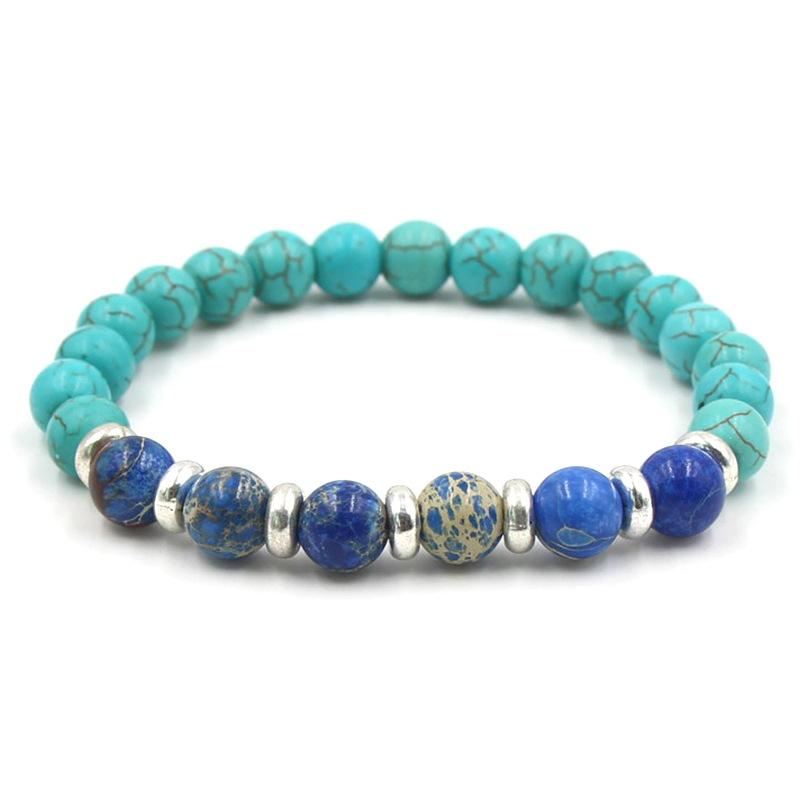 8mm Turquoise Yoga Bracelets Natural Stone Tigereye Lapis Lazuli Elastic Bangles For Women & Men Fashion Bracelets
