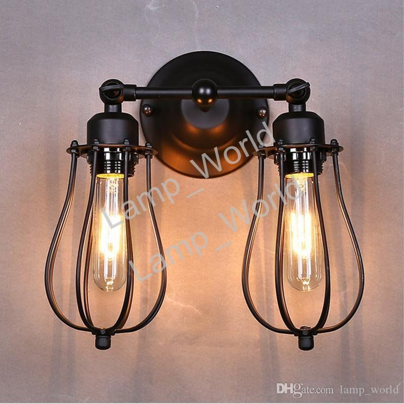 2018 black metal mini wire cage 2 lights wall sconce shade loft 2018 black metal mini wire cage 2 lights wall sconce shade loft industrial wall lamps for bedroom hallway coffee bar from lampworld 6191 dhgate mozeypictures Image collections