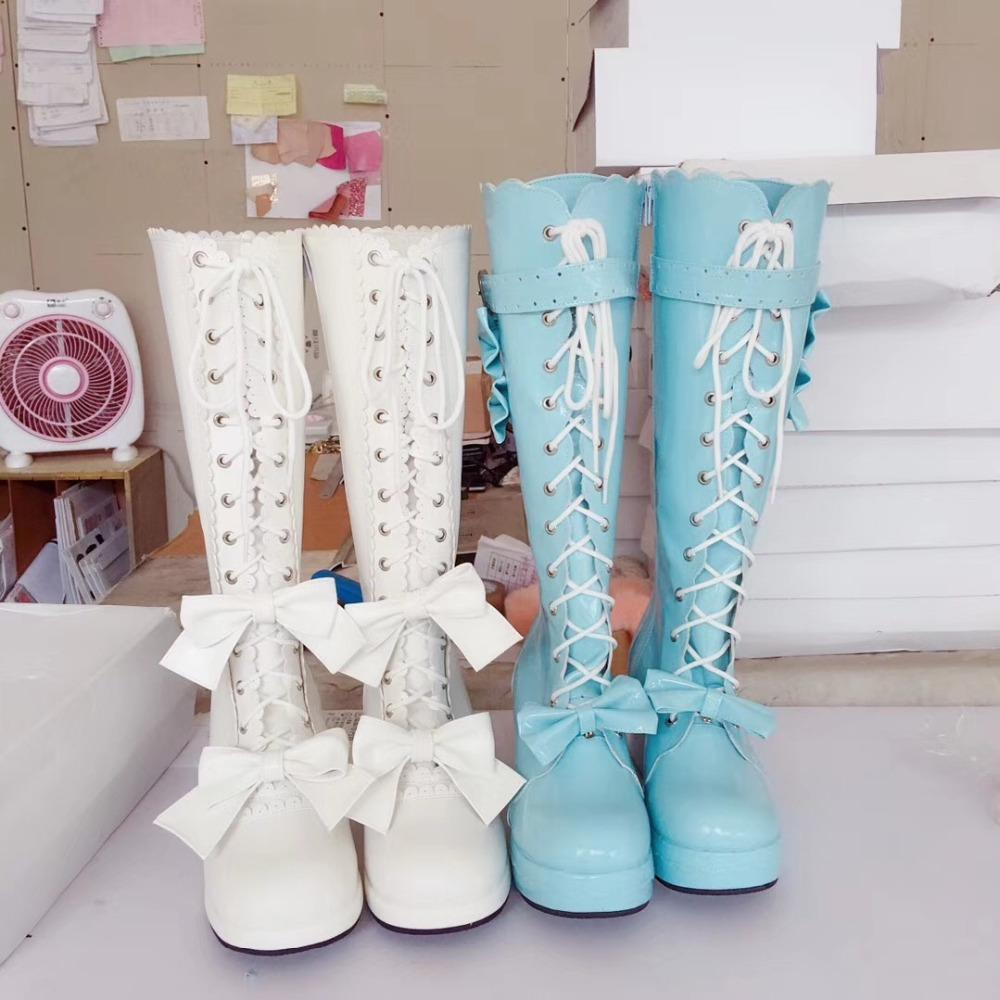 b566d56594 Japanese Harajuku Sweet Women Lolita Bow Knee High Boots Lace Up Princess  Boots Chunky High Platform Autumn Cosplay Leather Boots For Women Sporto  Boots ...