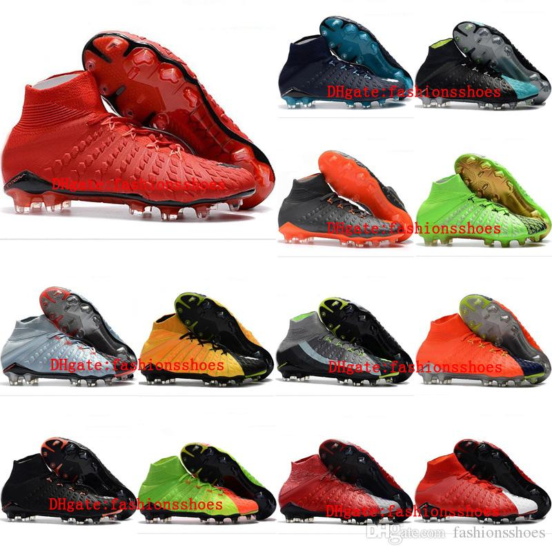 51f2fdd49b72 2019 2018 New Mens Soccer Cleats Hypervenom Phantom III DF FG EA Sports  Soccer Shoes Gold Leather Football Boots Tacos De Futbol Size 39 46 From ...