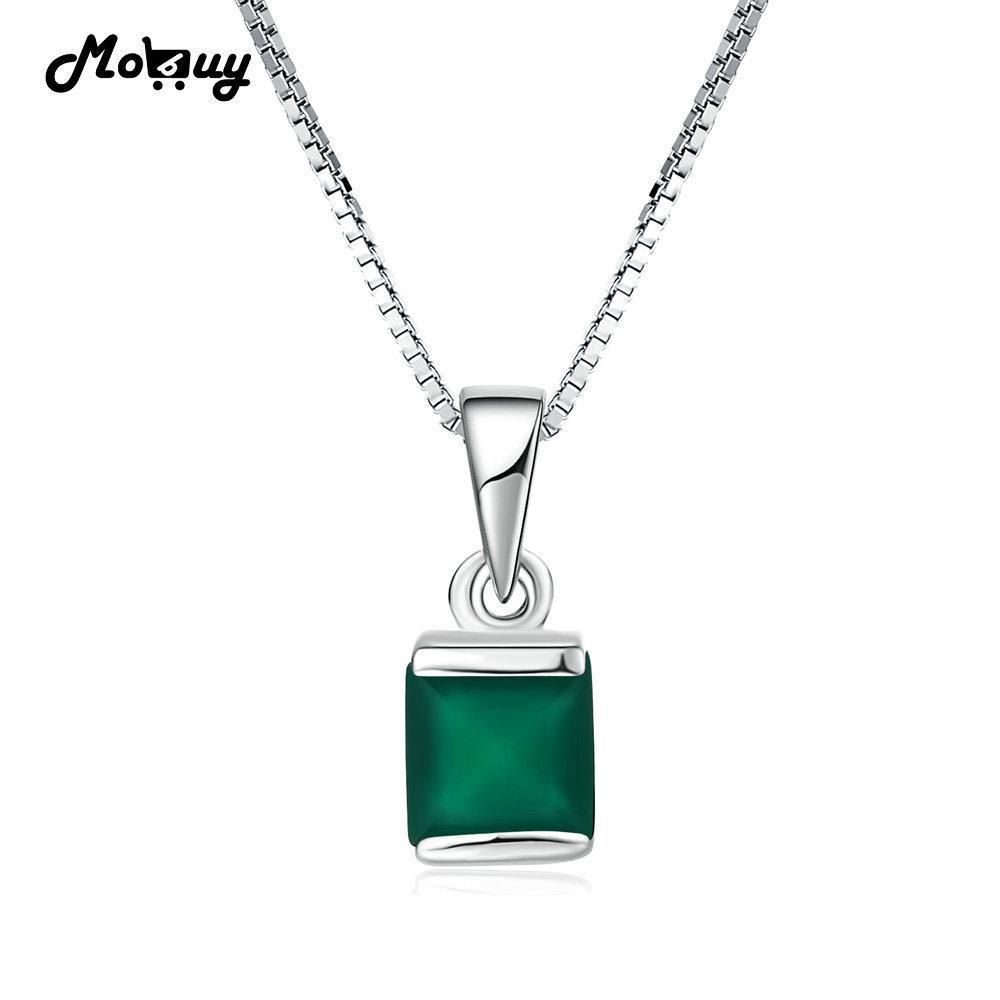 76c8a54479b5 Compre MoBuy MBNI038 Natural Piedra Preciosa Cuadrado Verde Calcedonia Collares  Colgantes 925 Sterling Silver Jewelry Oro Blanco Joyería Fina D1892005 A ...