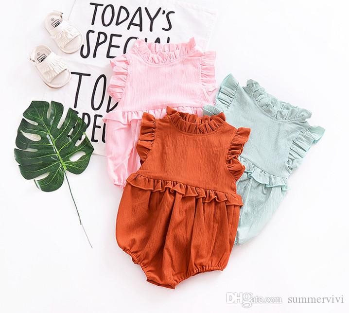9a63089bc3ec 2019 Summer Baby Cotton Linen Romper Girls Falbala Fly Sleeve Romper Infant  Cotton Clothing Toddler Kids Ruffle Collar Triangle Jumpsuits Y6006 From ...