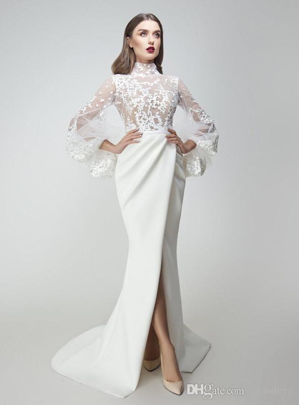 Yousef Aljasmi 2018 Prom Dresses Mermaid Lace Appliqued Long Sleeves ...