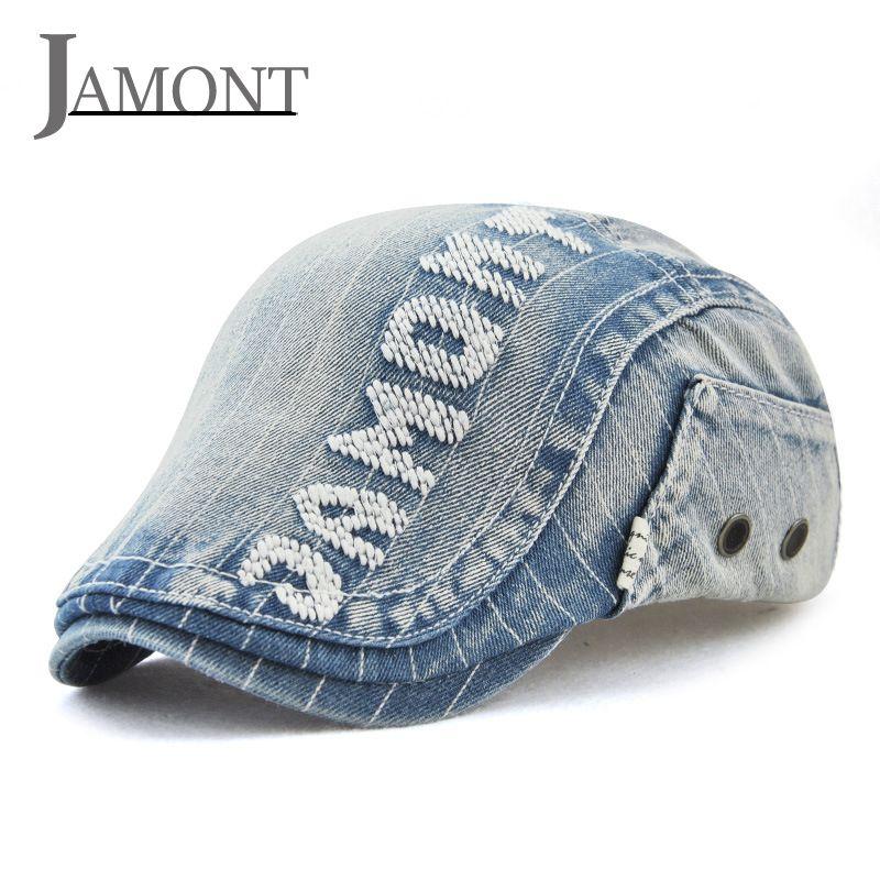79190602269 JAMONT Cowboy Flat Cap Vintage Denim Cloth Casual Peaked Beret Cap For Women  Men 2018 High Quality Fashion Retro Summer Jean Hat UK 2019 From Value333