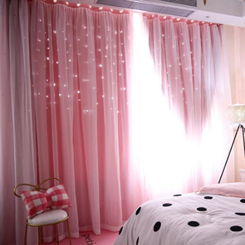 2019 Hollowed Out Star Shading Window Blackout Curtain Drapes Purdah ...