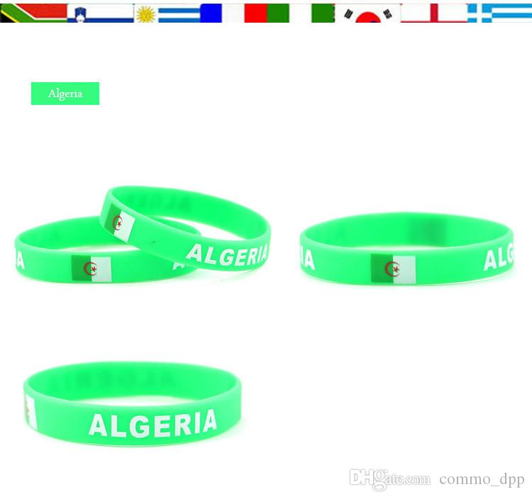 2018 Rússia Copa do Mundo Esportes Braceletes Muitos Países Bandeiras Nacionais Silicone Pulseira para Futebol Futebol Fãs Lembrança Jóias Presente