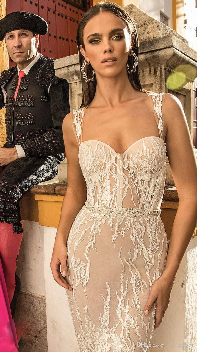 Berta Bridal Mermaid Wedding Dresses Spaghetti Sweetheart Neckline Backless Sequins Bridal Gowns With Detachable Train Wedding Gown