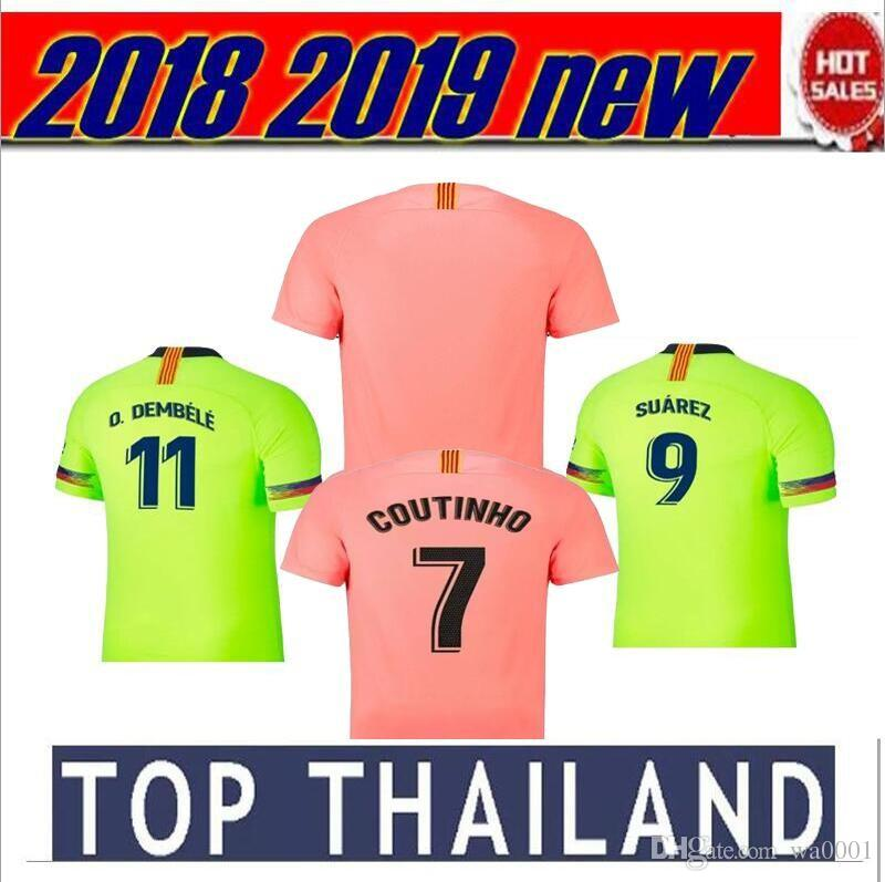 e975d0703c Compre 18 19 Barca Kits Barcelona Messi Soccer Jesrey Camiseta De La Fútbol  2018 2019 Home MESSI SUAREZ O.DEMBELE Soccer Jersey Football Shirt A.INIESTA  ...