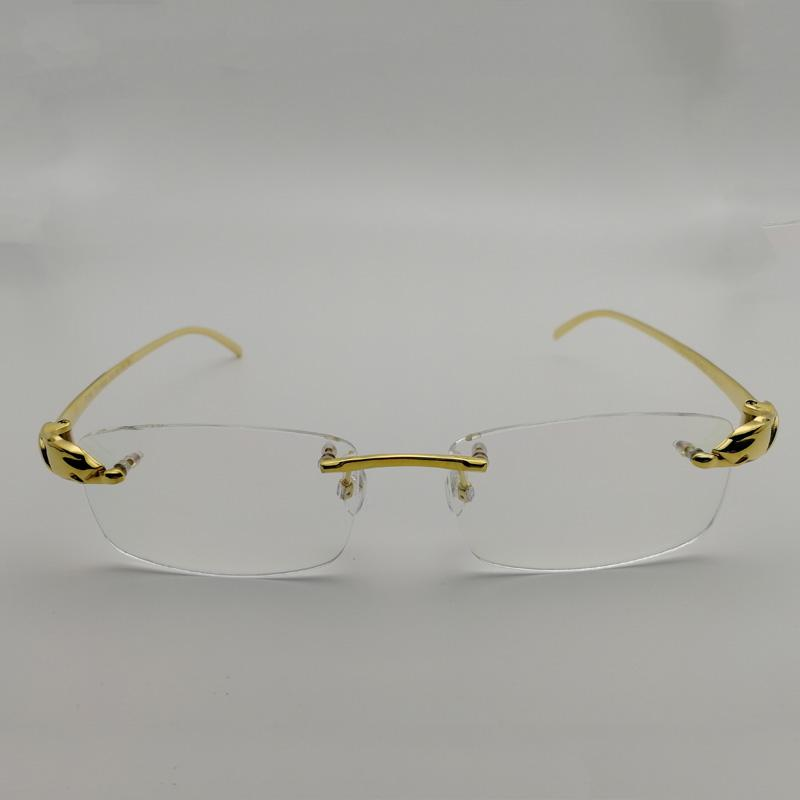 9bc66a94ff5 2019 Men Titanium Alloy Leopard Glasses Frames Rimless Square Eyeglasses  Luxury Clear Lens Optical Gold Frame Eyewear For Reading From Prevalent