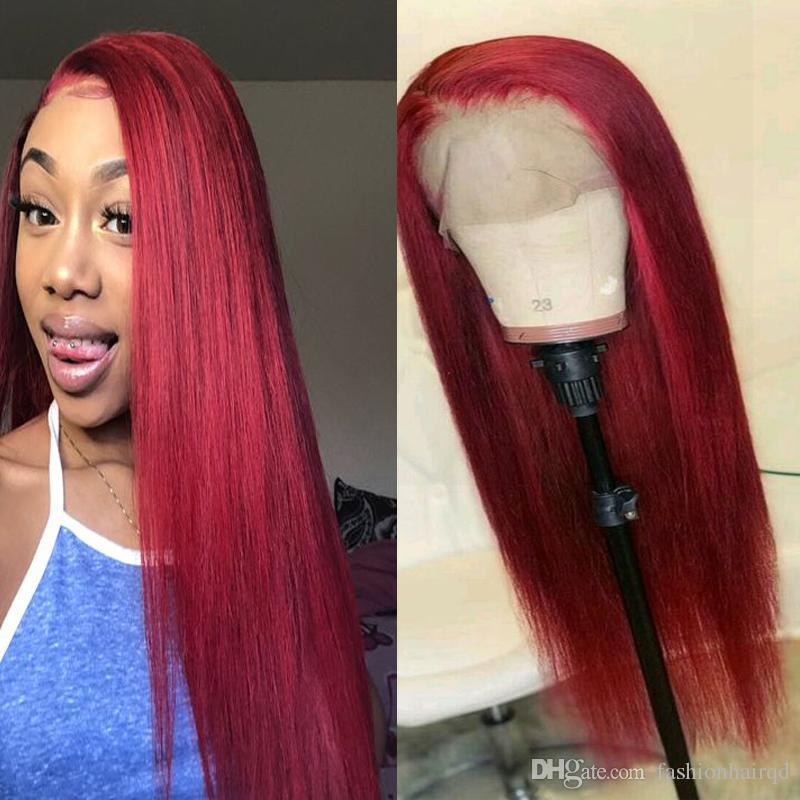 Red Lace Front Human Hair Wigs For Black Women 10A Grade Straight Indian  Virgin Hair Glueless Full Lace Wigs Natural Line 130% Density Brazilian  Hair Lace ... bf445b30c6