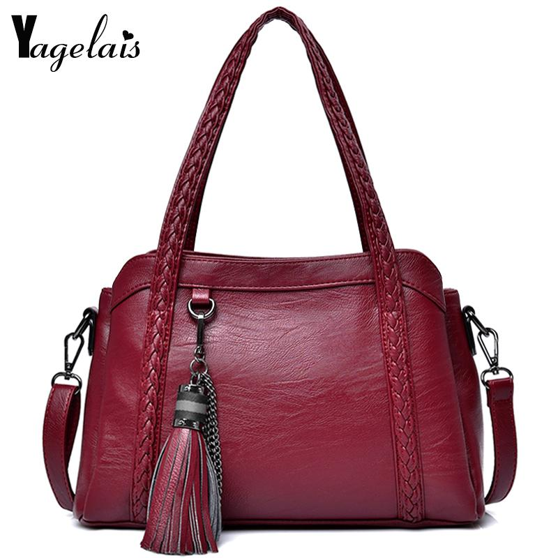 Women Dress Solid Color Handbag Zipper Messenger Bag With Tassels ... 06aa428f5963d
