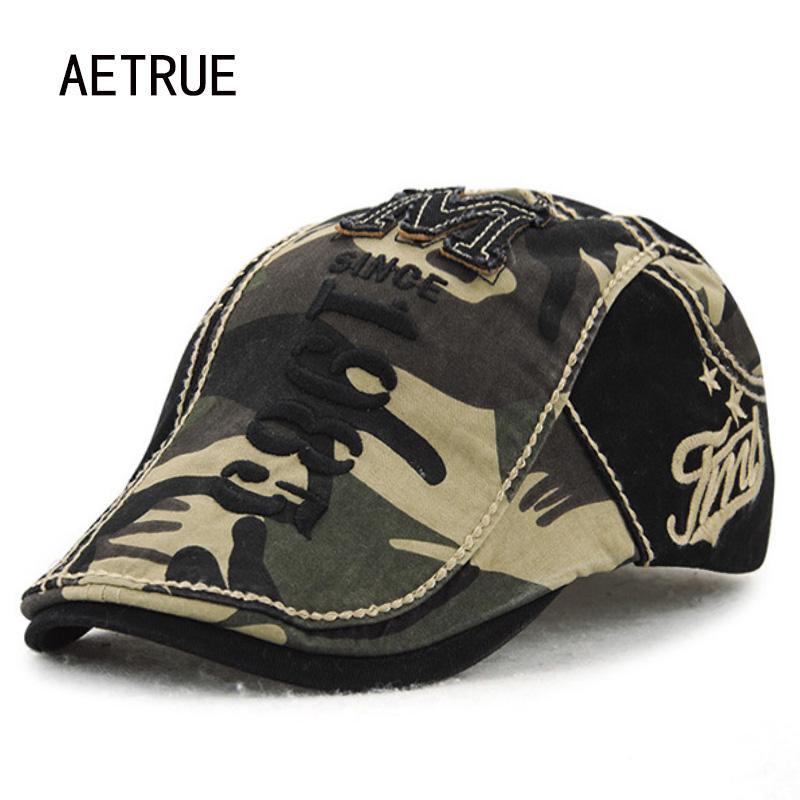 Compre AETRUE Nuevos Hombres Sombrero De Boina Mujer Casquette Camuflaje  Algodón Sombreros De Invierno Para Hombres Planas Viseras Sombrero Para El  Sol ... 85669a748cf