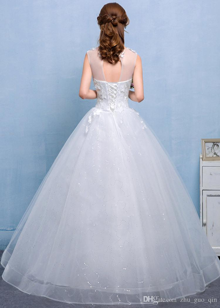 Real Photo Wedding Dress 2018 Nuovo arrivo coreano Sytel Fiore di pizzo Sposa Principessa estidos de noiva Handmade Gelinlik