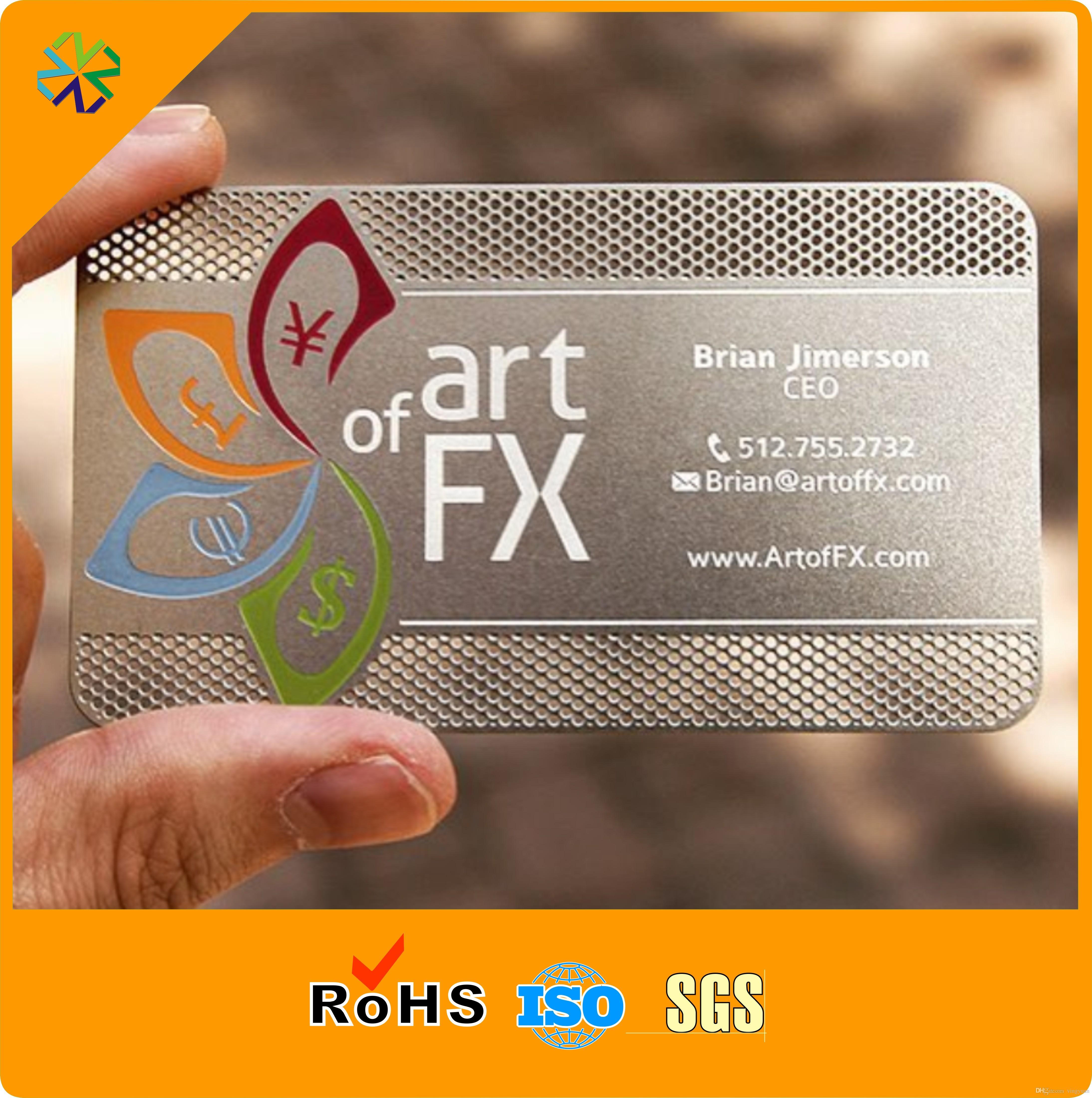 Carta in acciaio con effetto metallo spazzolato materiale acciaio inossidabile CR80 con stampa e placcatura in seta