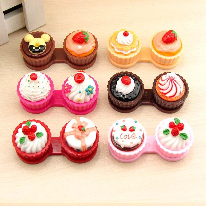 200pcs/lot Cartoon Cute Cream Cake Glasses Double Contact Lenses Box Contact Lens Case For Eyes Care Kit Holder Container Gift 6 color