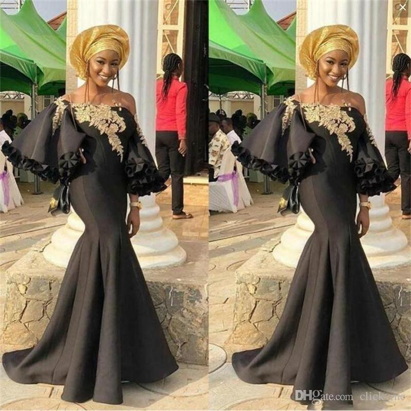 36846db7a2cce Aso Ebi Evening Dresses Off The Shoulder Sleeves Black Satin Ruffles  Mermaid Prom Dresses African Dubai robes de soirée Party Gowns