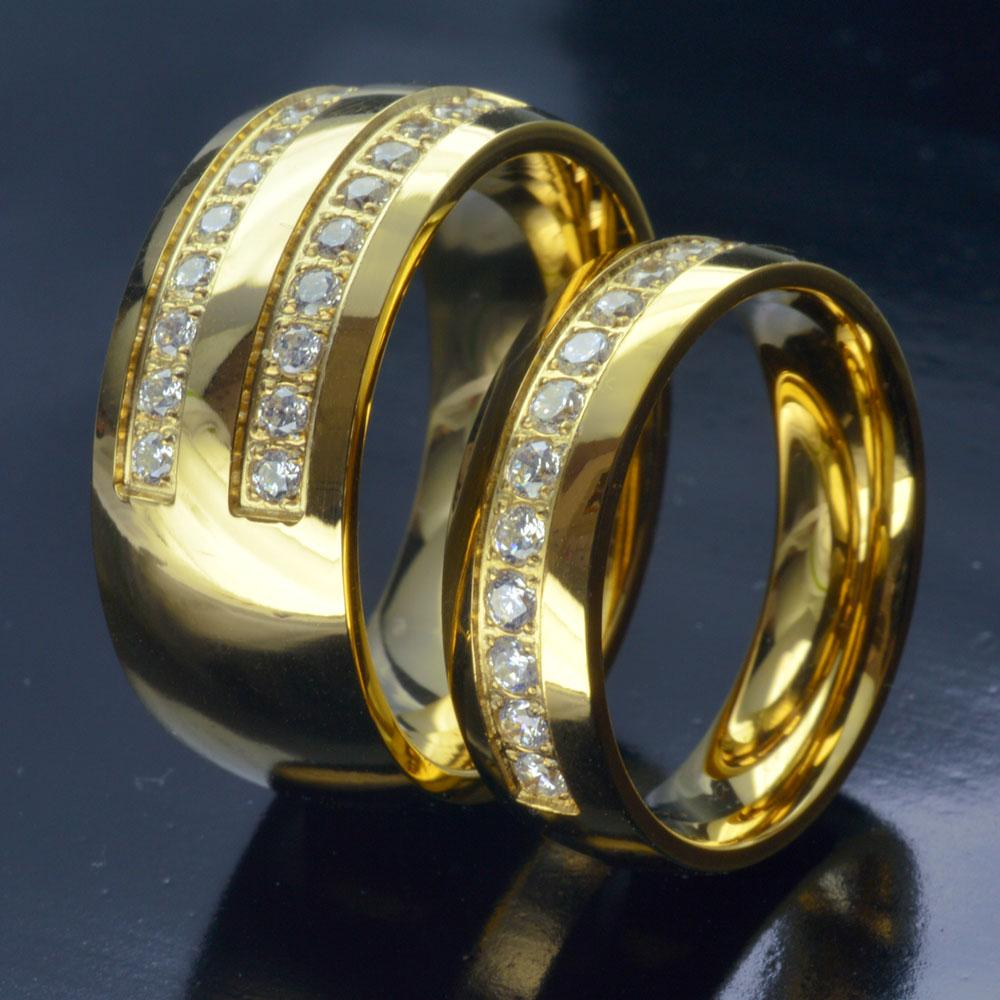 His Her Gold Tone STAINLESS STEEL WEDDING ENGAGEMENT RING BAND SET