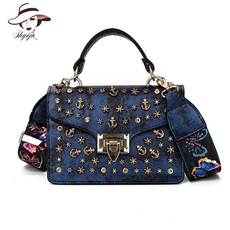 7b39713ceb71 2019 Luxury Famous Brand Metal Rivet Women Messenger Bag High Quality  Female Shoulder Handbag Colour Straps