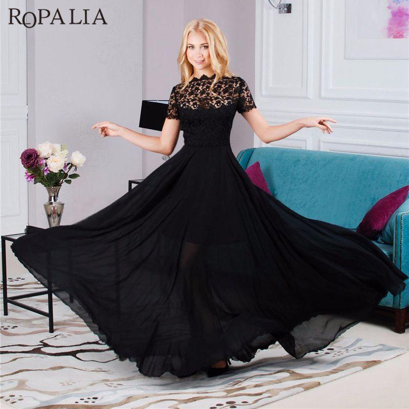 2019 ROPALIA EleBlack Formal Lace Mesh Women Long Dress Ladies Prom Evening  Party Chiffon Long Maxi Dress Boho Style Vestidos From Berniceone 8eebc6fcbe8a