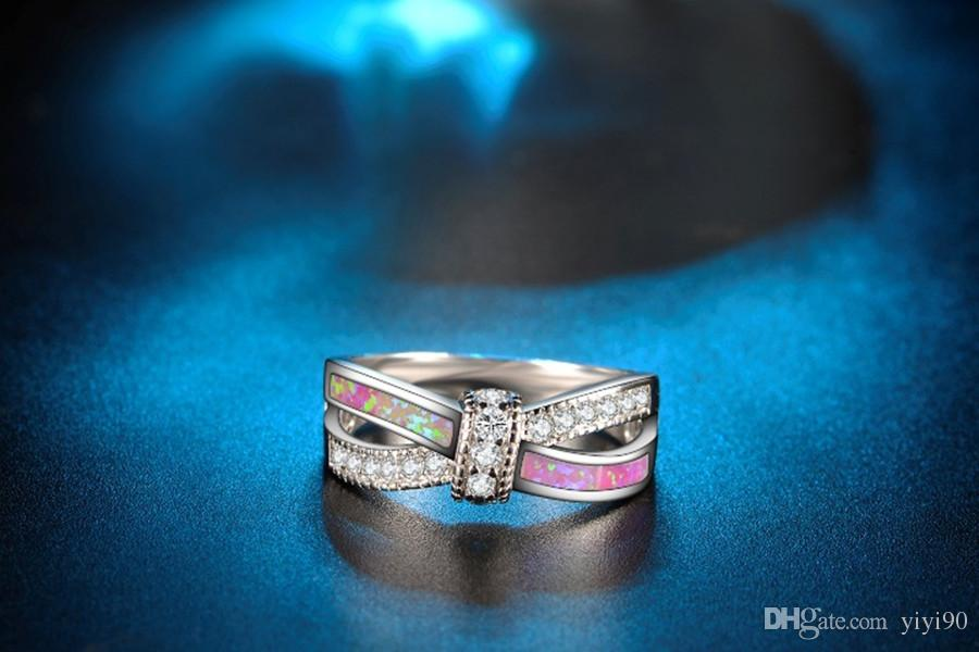 Fashion Cross White Round Cut Crystal Rainbow Opal Rings White Gold Filled Women Men's Cocktail Gift Jewelry Gift