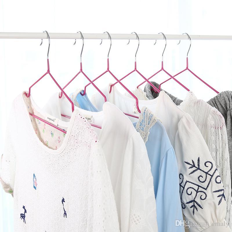 10 adet / grup 40 cm kaymaz kurutma ve kurutma plastik elbise askısı için askıları paslanmaz çelik askı yetişkin giyim raf