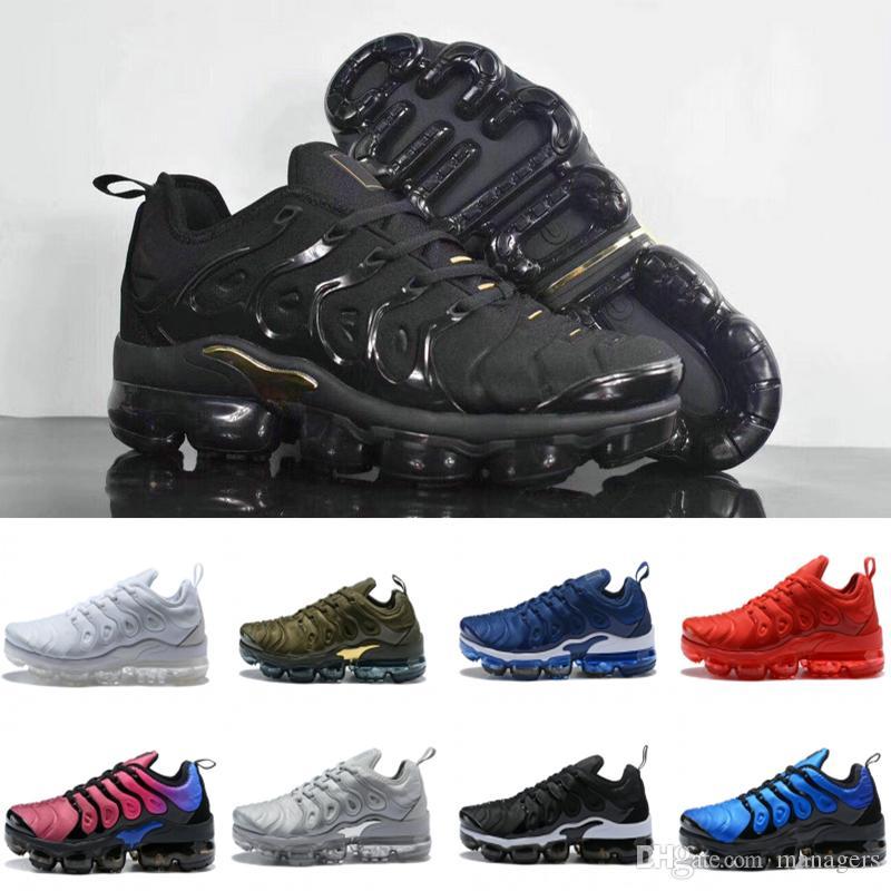 check out 33866 06b0e Acheter 2019 TN Plus Chaussures De Course Mens Femmes Meilleure Qualité  Tricoté Olive En Triple Blanc Métallique Sneakers Mens Bottes De Mouche D  argent ...