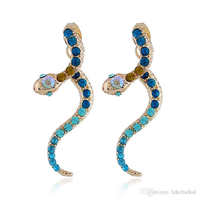 67d316c53 Luxury Designer Snake Stud Earring Women Girls Rhinestone Animal ...