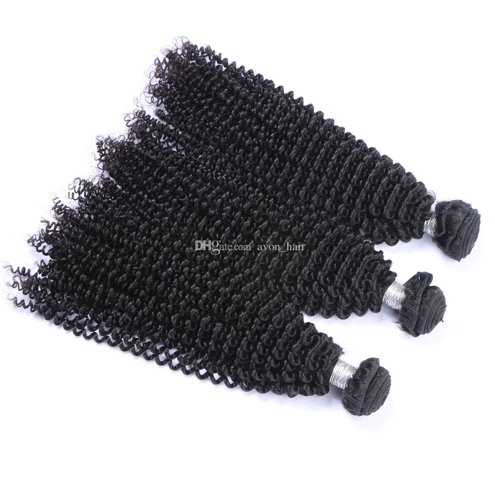 Natural Color 1B Afro kinky Curly Human Hair Weaves With Closure 4x4 Peruvian Kinky Curly Hair 3Bundles wefts With Lace Closure