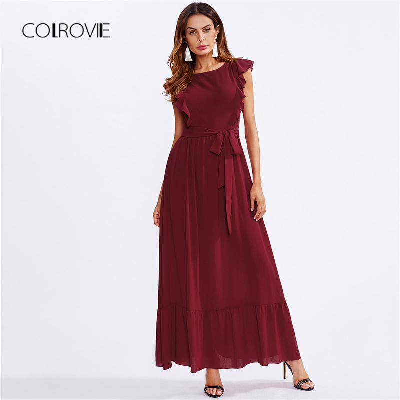 ffff652297b COLROVIE Burgundy Frill Shoulder And Hem Self Belted Ruffle Summer Dress  2018 High Waist Maxi Dress Elegant Party Women Sequin Dresses Sweater  Dresses From ...