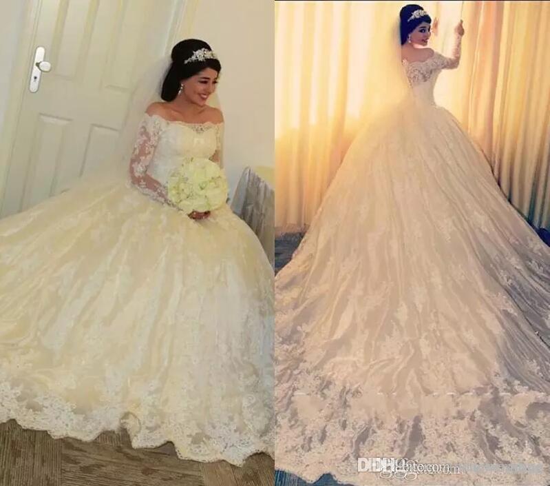 2019 Princesse Robe De Mariage De Luxe Africain Arabe Dubaï Dentelle Appliques Manches Longues église Formelle Mariée Robe De Mariée Plus La Taille